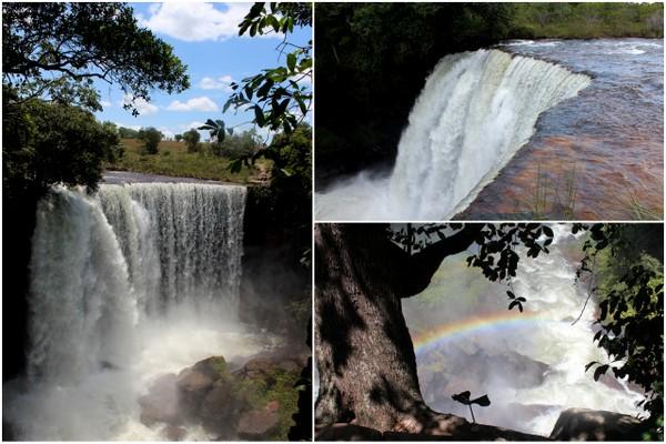 Mosaico com imagens da Cachoeira da Fumaça no Jalapão