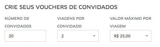 UberEVENTS | Defina a quantidade e valores por convidado