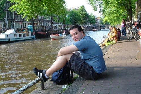 Marcelo Lemos no Rio Amstel em Amsterdã