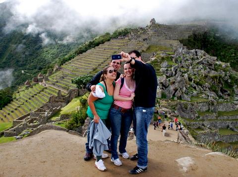 Marcelo, Polliana, Roberta e Gilbert em Machu Picchu