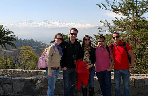 Polliana, Marcelo, Analice, Rodrigo e Gilbert em Santiago do Chile