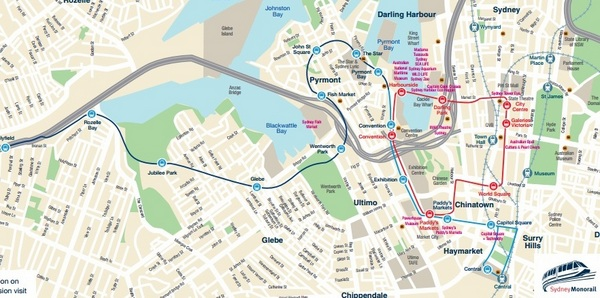 Mapa do Monorail de Sidney