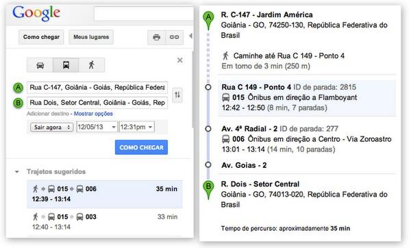Roteiro de Ônibus pelo Google Maps | Goiânia