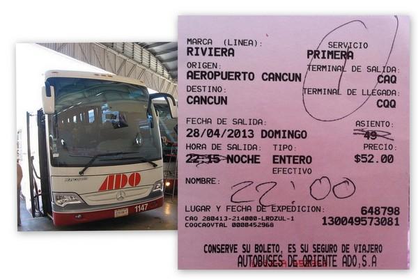 Bilhete ônibus ADO | Aeroporto de Cancun