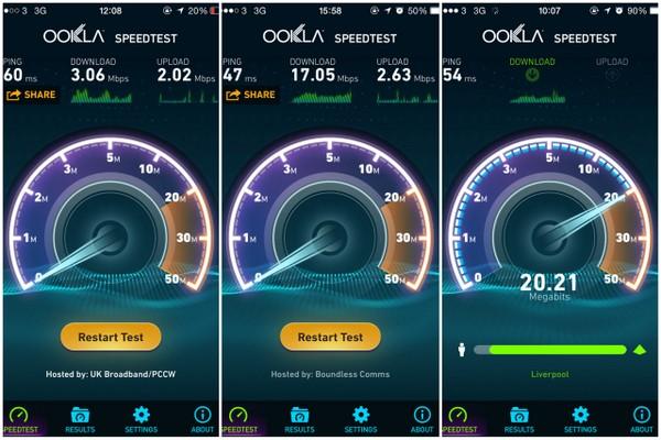 3G na Inglaterra | Velocidade