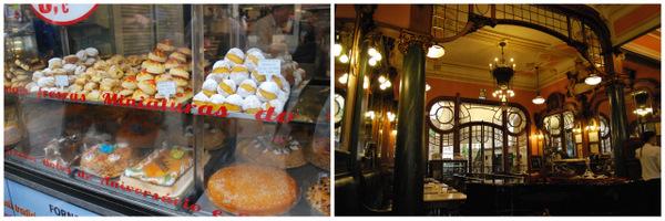 Uma padaria de Porto (esquerda) e o Café Magestic (direita)