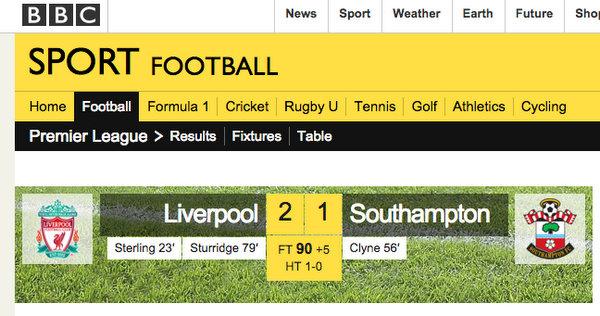 Liverpool x Southampton   Placar