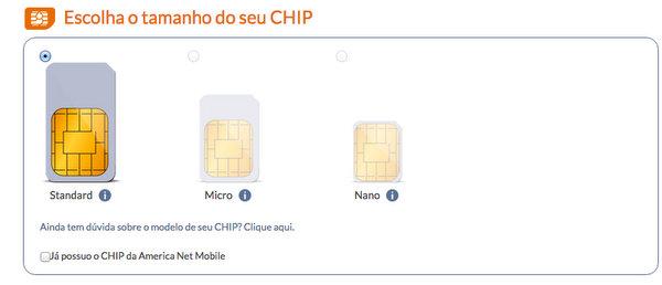 American Net Mobile | Escolha o padrão do SIM Card