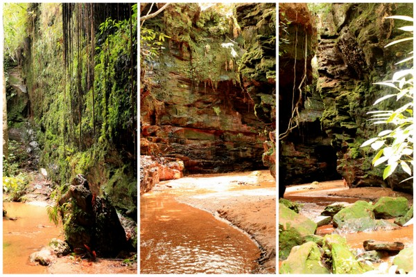 Mosaico com fotos do Canyon de Sussuapara no Jalapão