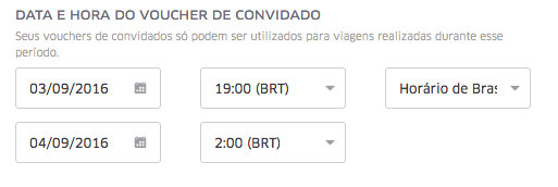 UberEVENTS | Data e Hora do Voucher de Convidado
