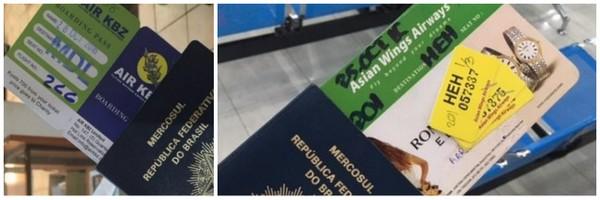 Cartões de Embarque da Asian Wings e AirKBZ