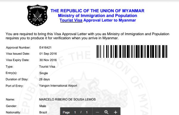 e-Visa para Myanmar