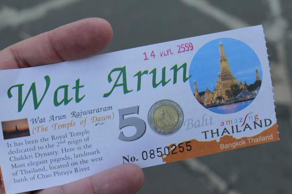 Ticket para o Wat Arun em Bangkok